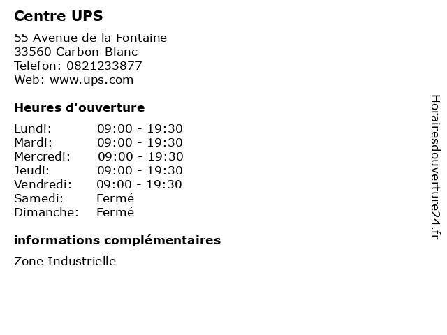 Centre UPS à Carbon-Blanc: adresse et heures d'ouverture