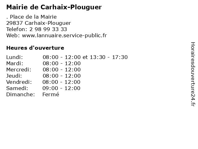 Mairie de Carhaix-Plouguer à Carhaix-Plouguer: adresse et heures d'ouverture