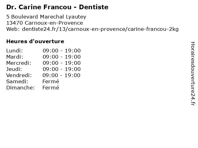 Dr. Carine Francou - Dentiste à Carnoux-en-Provence: adresse et heures d'ouverture