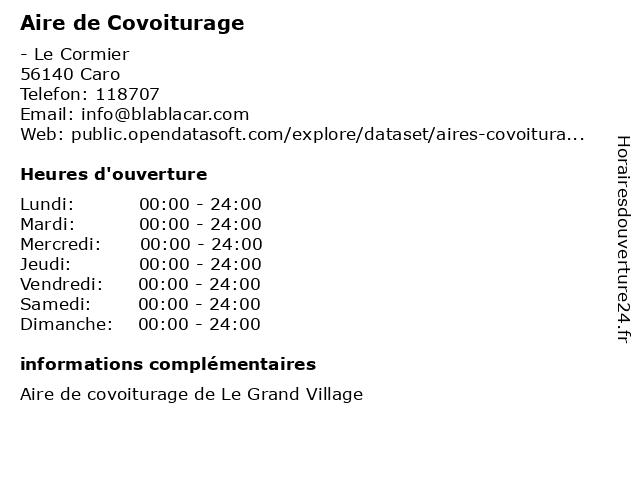 Aire de Covoiturage à Caro: adresse et heures d'ouverture