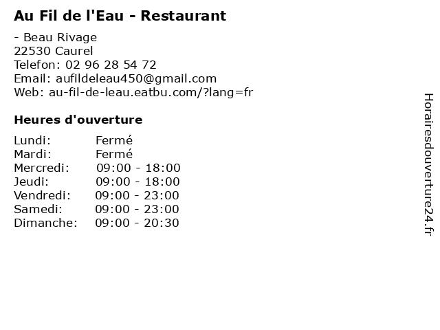 Au Fil de l'Eau - Restaurant à Caurel: adresse et heures d'ouverture