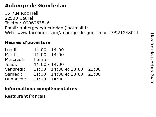 Auberge de Guerledan à Caurel: adresse et heures d'ouverture