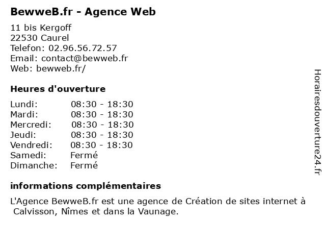 BewweB.fr - Agence Web à Caurel: adresse et heures d'ouverture