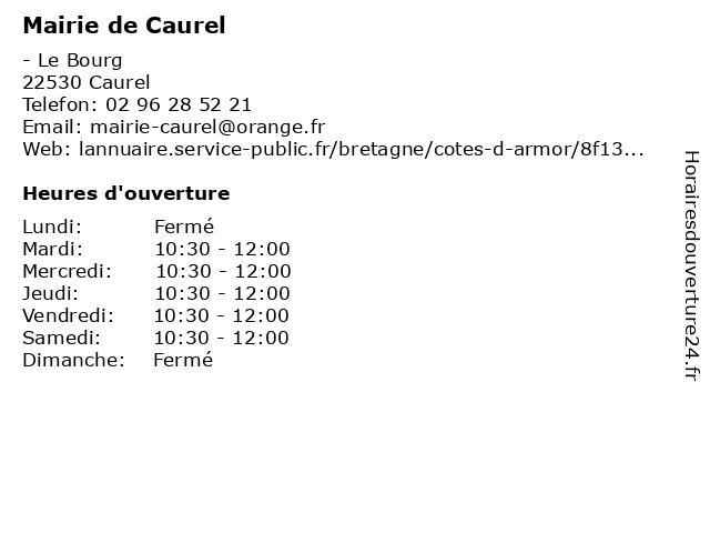 Mairie de Caurel à Caurel: adresse et heures d'ouverture