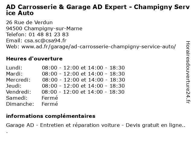 AD CARROSSERIE ET GARAGE EXPERT CHAMPIGNY SERVICE AUTO à Champigny-sur-Marne: adresse et heures d'ouverture