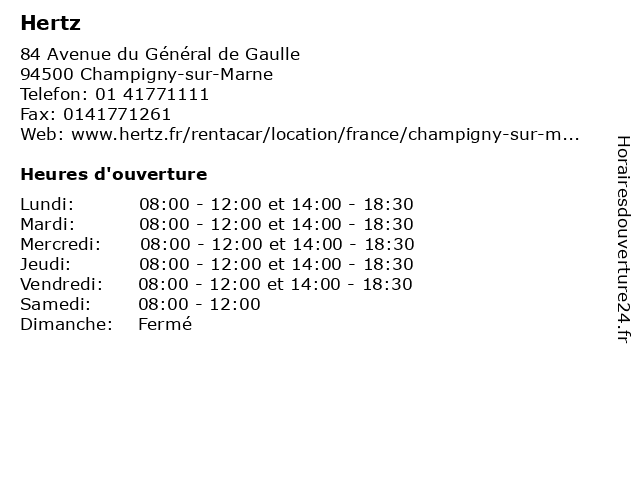 Hertz à Champigny-sur-Marne: adresse et heures d'ouverture