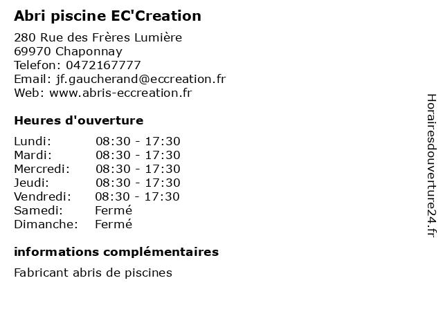 Abri piscine EC'Creation à Chaponnay: adresse et heures d'ouverture