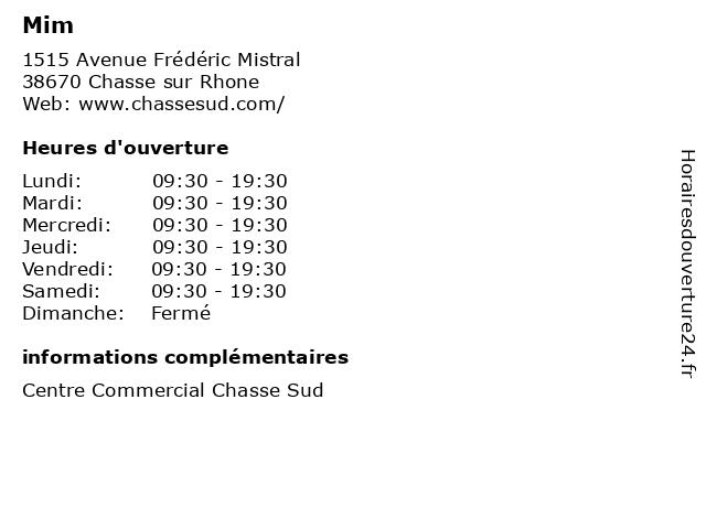 Mim à Chasse sur Rhone: adresse et heures d'ouverture