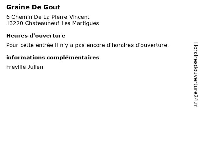 Graine De Gout à Chateauneuf Les Martigues: adresse et heures d'ouverture