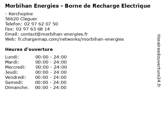 Morbihan Energies - Borne de Recharge Electrique à Cleguer: adresse et heures d'ouverture