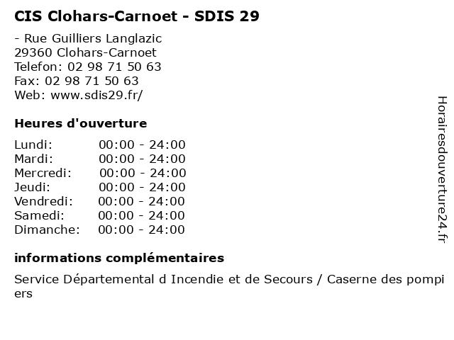 CIS Clohars-Carnoet - SDIS 29 à Clohars-Carnoet: adresse et heures d'ouverture