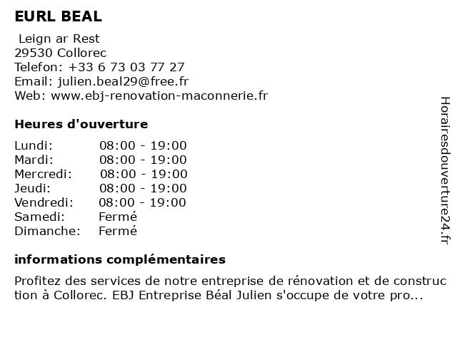 EURL BEAL à Collorec: adresse et heures d'ouverture