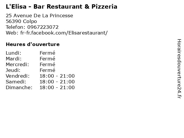 L'Elisa - Bar Restaurant & Pizzeria à Colpo: adresse et heures d'ouverture