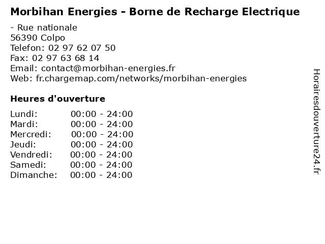 Morbihan Energies - Borne de Recharge Electrique à Colpo: adresse et heures d'ouverture