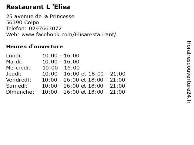 Restaurant L 'Elisa à Colpo: adresse et heures d'ouverture