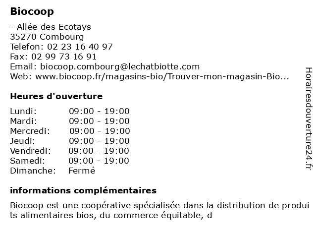 Biocoop à Combourg: adresse et heures d'ouverture