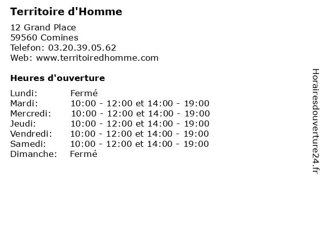 Territoire d'Homme à Comines: adresse et heures d'ouverture