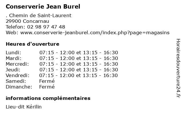 Conserverie Jean Burel à Concarnau: adresse et heures d'ouverture