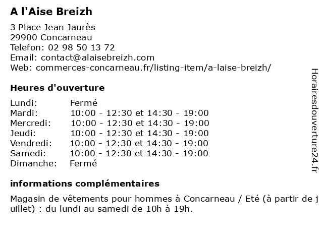 A l'Aise Breizh à Concarneau: adresse et heures d'ouverture