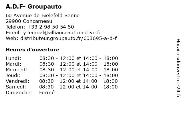 A.D.F- Groupauto à Concarneau: adresse et heures d'ouverture