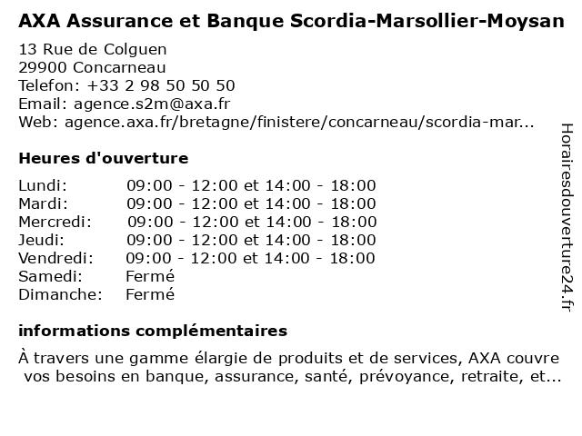 AXA Assurance SCORDIA-MARSOLLIER-MOYSAN à Concarneau: adresse et heures d'ouverture