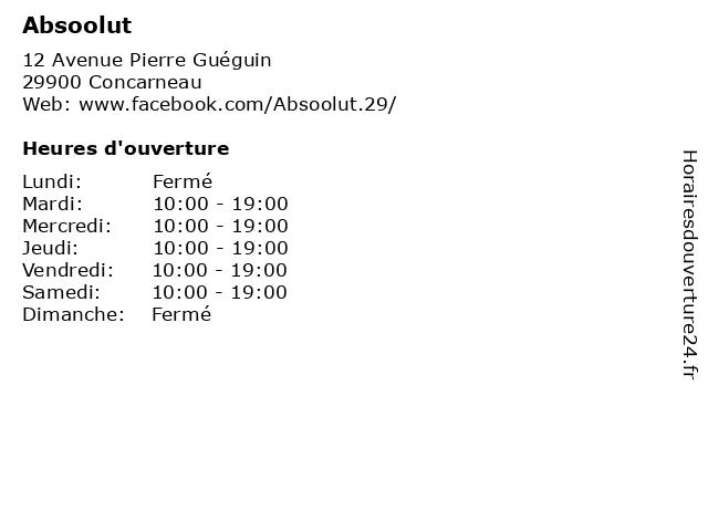 Absoolut à Concarneau: adresse et heures d'ouverture