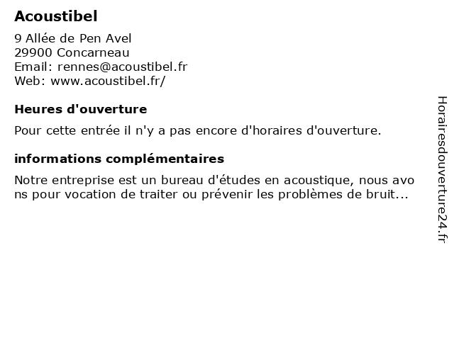 Acoustibel à Concarneau: adresse et heures d'ouverture