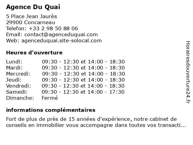 Agence Du Quai à Concarneau: adresse et heures d'ouverture