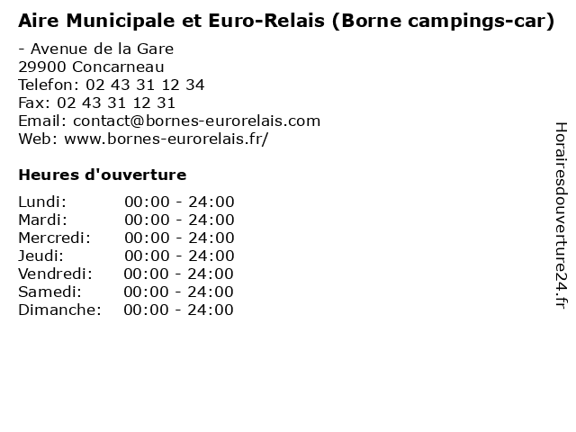 Aire Municipale et Euro-Relais (Borne campings-car) à Concarneau: adresse et heures d'ouverture