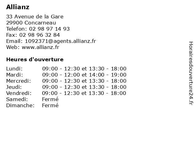 Allianz à Concarneau: adresse et heures d'ouverture