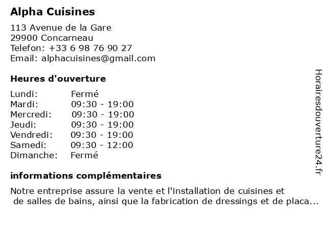 Alpha Cuisines à Concarneau: adresse et heures d'ouverture