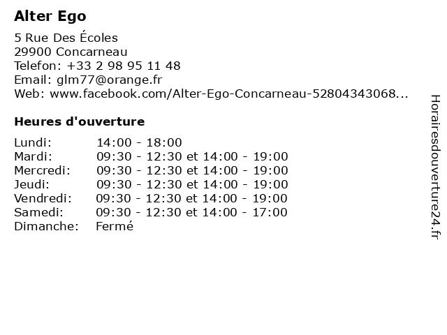 Alter Ego à Concarneau: adresse et heures d'ouverture