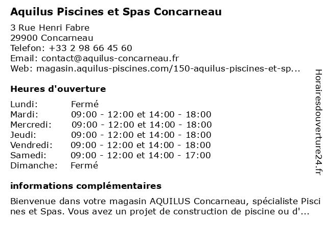 Aquilus Piscines et Spas Concarneau à Concarneau: adresse et heures d'ouverture
