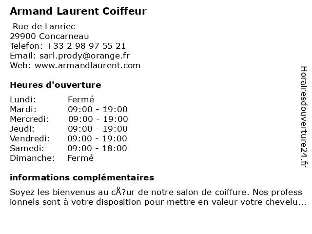 Armand Laurent Coiffeur à Concarneau: adresse et heures d'ouverture