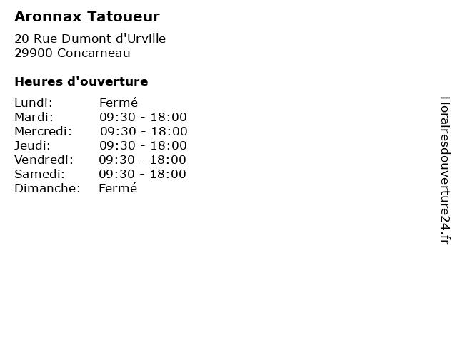Aronnax Tatoueur à Concarneau: adresse et heures d'ouverture