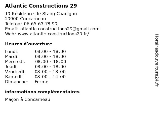 Atlantic Constructions 29 à Concarneau: adresse et heures d'ouverture