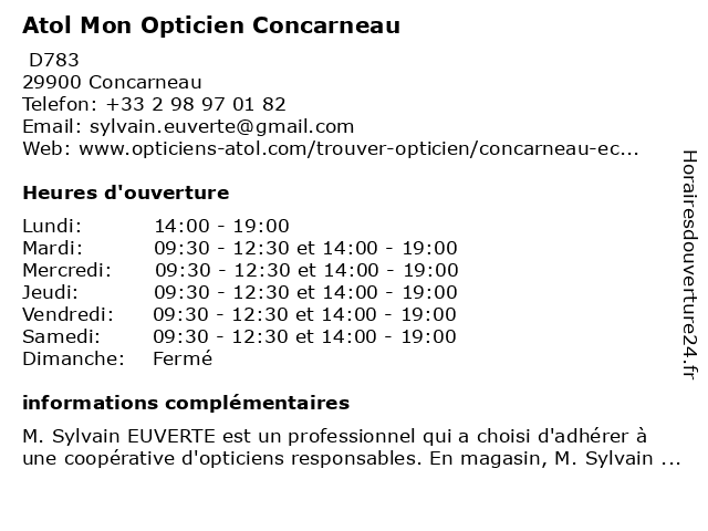 Atol Mon Opticien Concarneau à Concarneau: adresse et heures d'ouverture