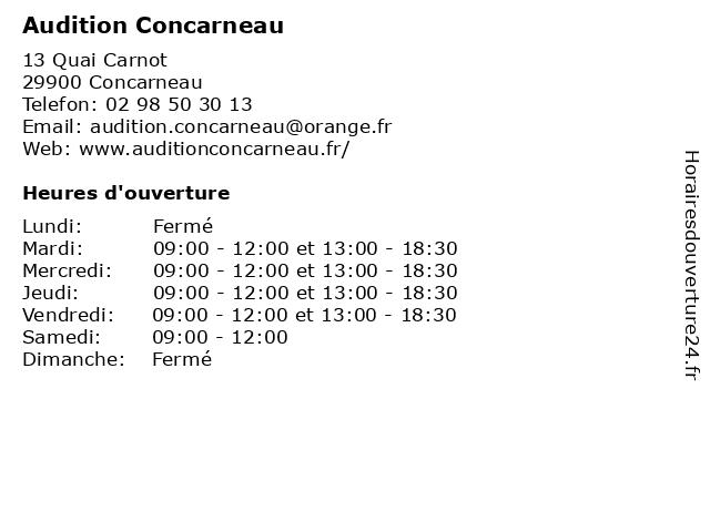 Audition Concarneau à Concarneau: adresse et heures d'ouverture