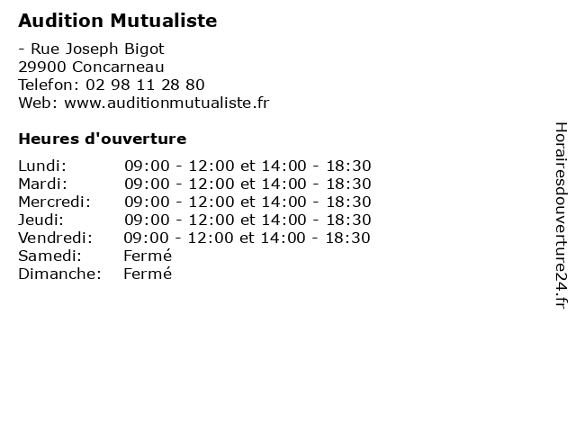 Audition Mutualiste à Concarneau: adresse et heures d'ouverture