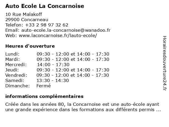 Auto Ecole La Concarnoise à Concarneau: adresse et heures d'ouverture