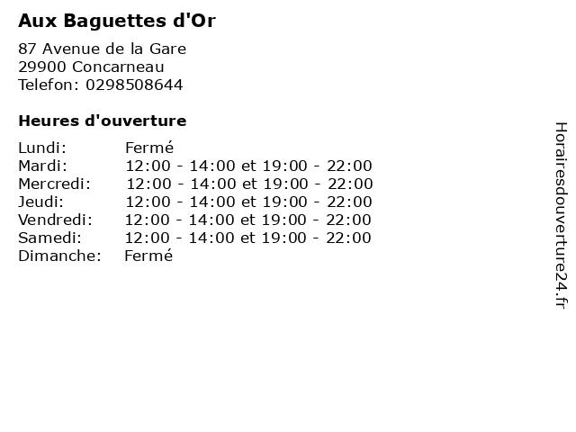Aux Baguettes d'Or à Concarneau: adresse et heures d'ouverture