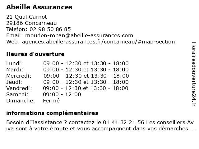 Aviva Assurance à Concarneau: adresse et heures d'ouverture
