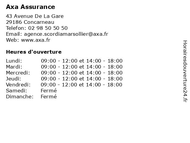 Axa Assurance à Concarneau: adresse et heures d'ouverture