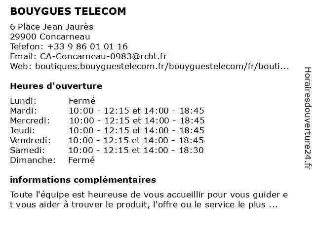 BOUYGUES TELECOM à Concarneau: adresse et heures d'ouverture