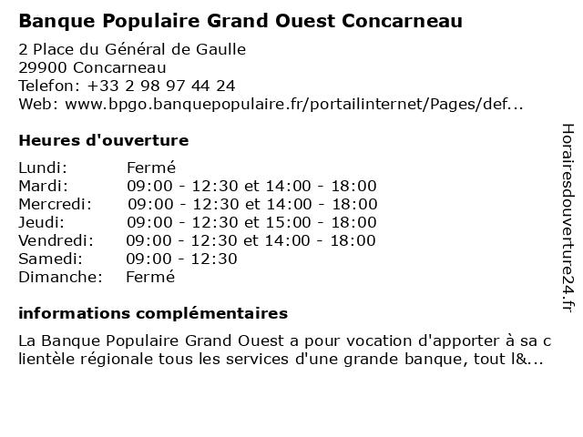 Banque Populaire Grand Ouest Concarneau à Concarneau: adresse et heures d'ouverture
