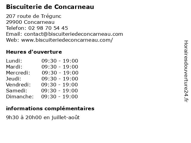 Biscuiterie de Concarneau à Concarneau: adresse et heures d'ouverture