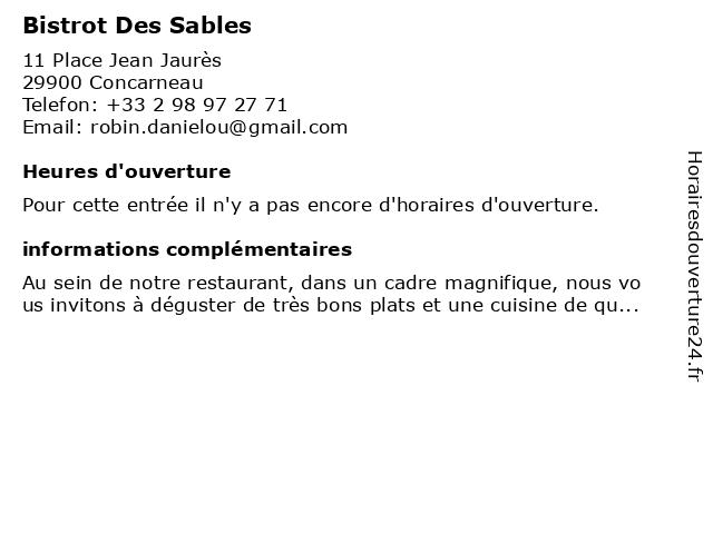 Bistrot Des Sables à Concarneau: adresse et heures d'ouverture