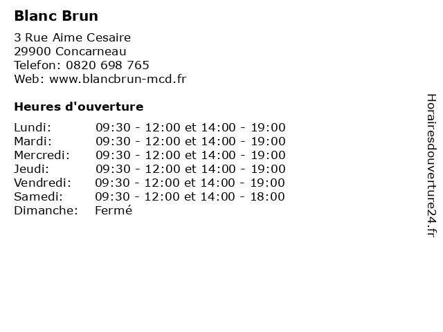 Blanc Brun à Concarneau: adresse et heures d'ouverture