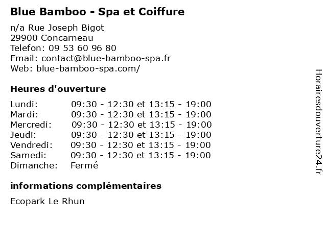 Blue Bamboo - Spa et Coiffure à Concarneau: adresse et heures d'ouverture