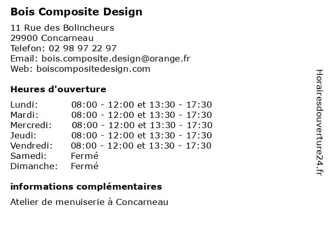 Bois Composite Design à Concarneau: adresse et heures d'ouverture